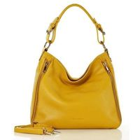 Żółta włoska skórzana torebka na ramię marco mazzini
