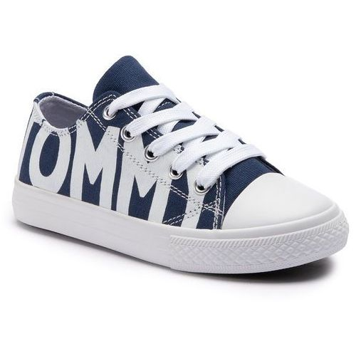 Tommy hilfiger Trampki - low cut lace-up sneaker t3b4-30274-0618 blue/white x007