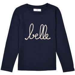 "Koszulka z długim rękawem z wyhaftowanym napisem ""belle"" 3-12 lat"