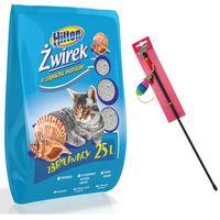 Hilton żwirek bentonitowy zbrylający - morski dla kota 25l + hilton wędka z myszką 47cm gratis!