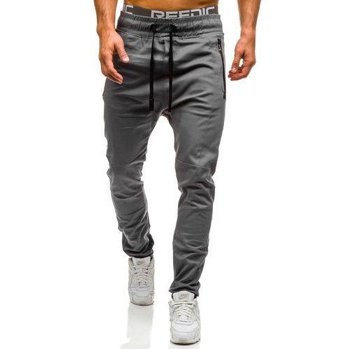 Spodnie joggery męskie szare denley 0803, Athletic