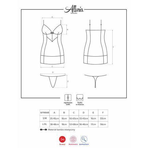 Kusicielska koszulka - Obsessive Alluria Chemise & Thong Black L/XL, 49-2943 (9177033)