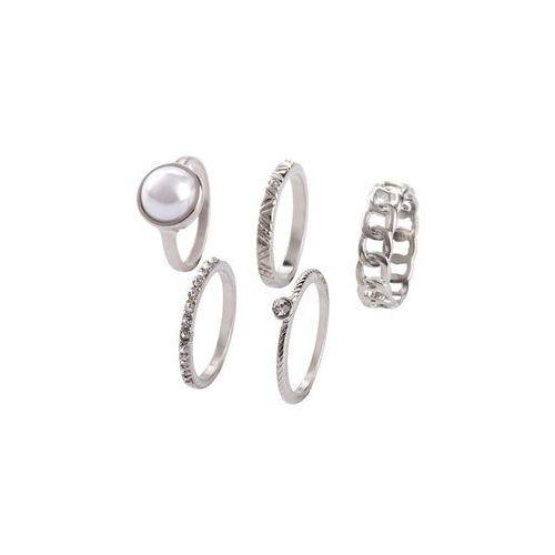 Bonprix Komplet pierścionków (5 części) srebrny kolor
