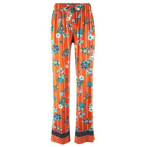 2605dd870053e9 Zobacz w sklepie Spodnie palazzo bonprix głęboki pomarańczowy w kwiaty i w  paski, kolor pomarańczowy