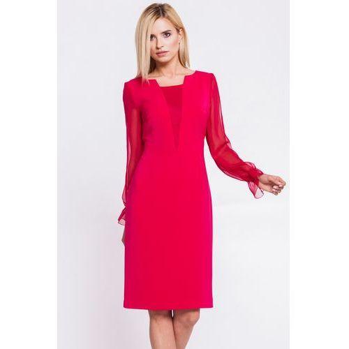 Malinowa sukienka z szyfonowymi rękawami - GaPa Fashion, kolor czerwony