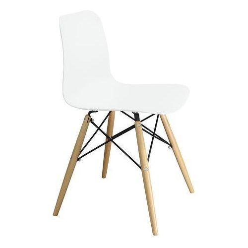 King home Krzesło plastikowe krado dsw premium białe - polipropylen, podstawa bukowa (5900000025360)