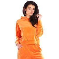 Damska bluza typu kangurka z weluru - pomarańczowa