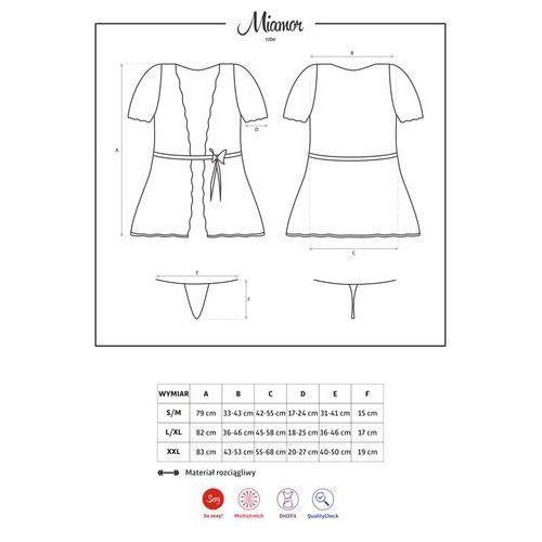 Seksowny szlafroczek – miamor robe & thong black s/m marki Obsessive