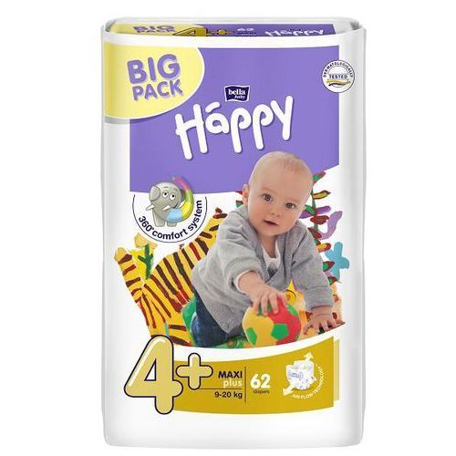 Pieluszki Bella Baby Happy Maxi Plus (4+) 9-20 kg - 62 szt. BIG PACK