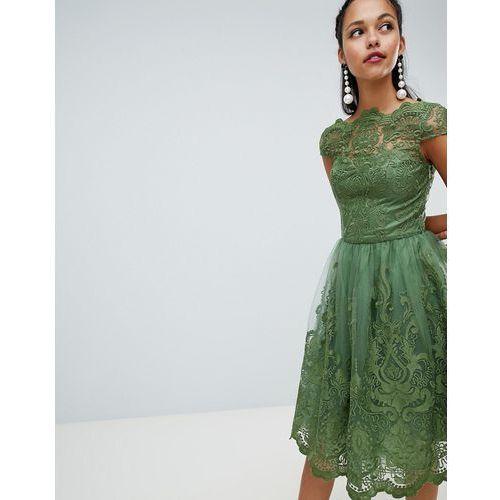 f284b436 Premium lace midi dress with cap sleeve - green (Chi Chi London)