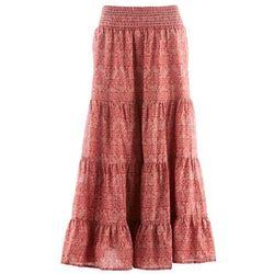 Długa spódnica, kolekcja Maite Kelly bonprix brązowy marsala - biały z nadrukiem, kolor czerwony