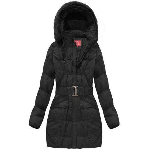Długa kurtka z paskiem czarna (610bs 1) czarny (Go Start