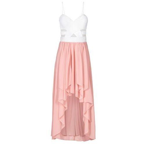 Bonprix Sukienka z dłuższym tyłem i dekoltem w kształcie serca biało-jasnoróżowy