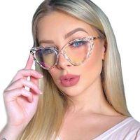 Okulary damskie zerówki różowe złote kocie oko