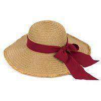 Kapelusz plażowy falowany kokarda czerwona boho - ciemny beż bordowy