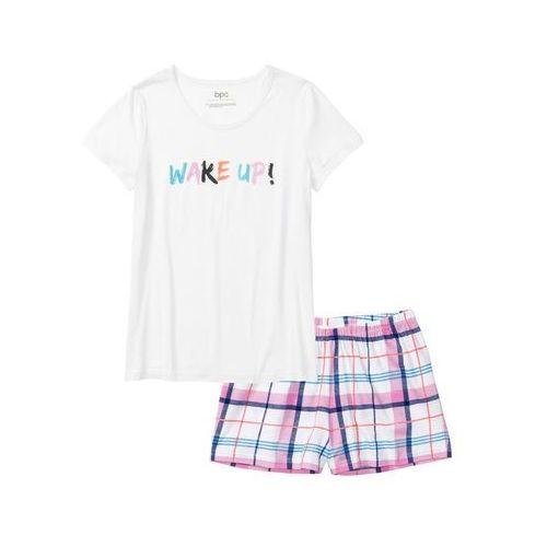 9ed53699f5667c Zobacz w sklepie Piżama z krótkimi spodenkami biały w kratę Bonprix