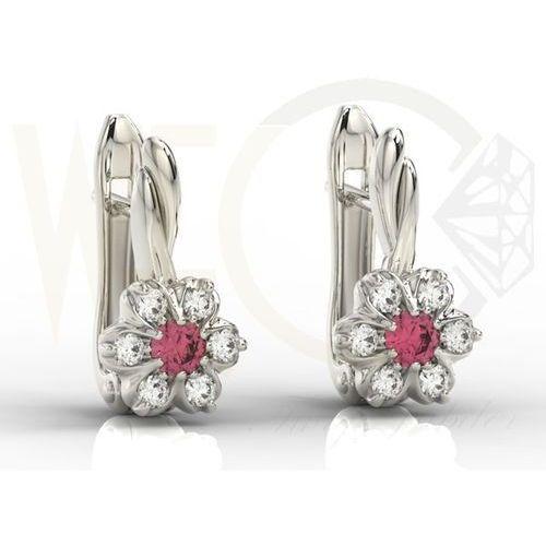 Węc - twój jubiler Kolczyki z białego złota z rubinami i brylantami apk-68b - rubin