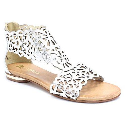 2699 srebrne - płaskie sandały ażurowe - srebrny marki Tymoteo