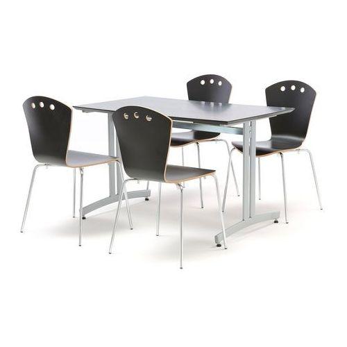 Zestaw do stołówki, stół 1200x700 mm, czarny + 4 krzesła czarny/szary