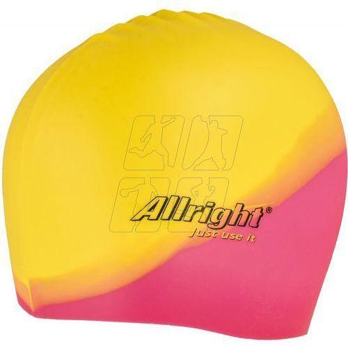Czepek pływacki silikonowy różowo żółty Allright
