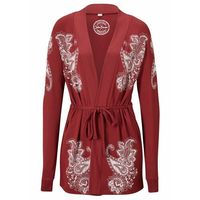 Długa bluza wiązana bonprix czerwony kasztanowy - paisley