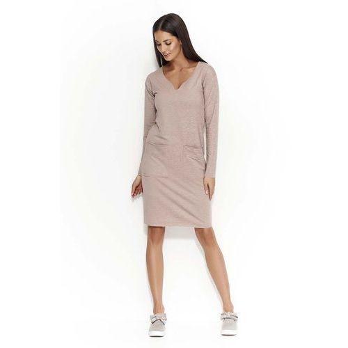 b2403bba96b204 Zobacz ofertę Cappuccino sukienka dzianinowa z nakładanymi kieszeniami,  Makadamia, 38-46