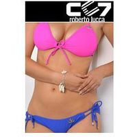 SET Kąpielowki CC7 HEARTS PUSH-UP HOT PINK + SUPER BRIEFS ELECTRIC BLUE no. 30