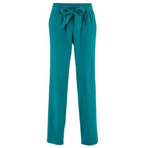 Spodnie lniane z wiązanym paskiem bonprix kobaltowo-turkusowy, w 9 rozmiarach