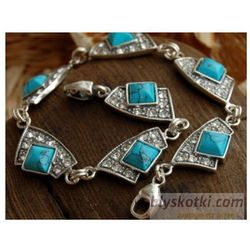 AVENIDA - srebrna bransoletka z turkusem i kryształkami, kolor szary