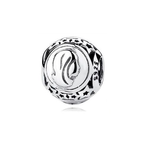 Rodowany srebrny charms pandora znak zodiaku panna srebro 925 BEAD22, kolor beżowy