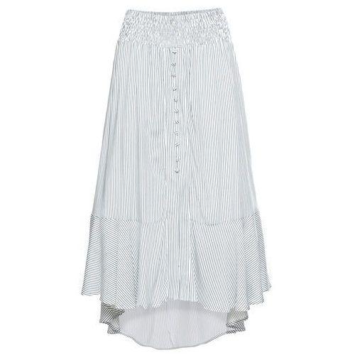 d71dcbd786e27d Zobacz w sklepie Bonprix Spódnica z guzikami biel wełny - niebieskoszary w  paski