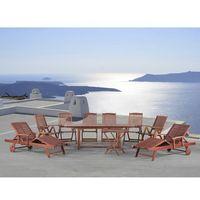 Meble ogrodowe drewno - stół, 2 leżanki, 6 krzeseł - TOSCANA (7081452309159)