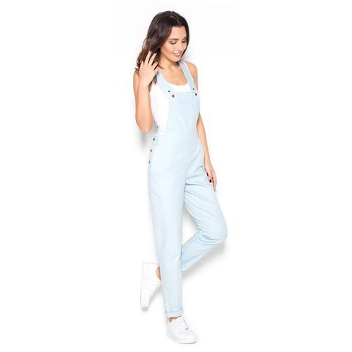 Jeansowe Błękitne Spodnie Ogrodniczki, jeans