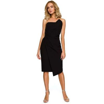 3839dd0b8c Czarna Wieczorowa Asymetryczna Sukienka z Odkrytymi Ramionami