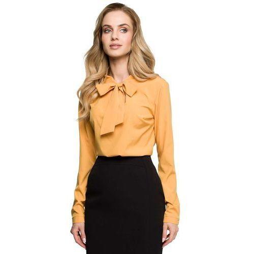 Moe Żółta elegancka bluzka z wiązaniem