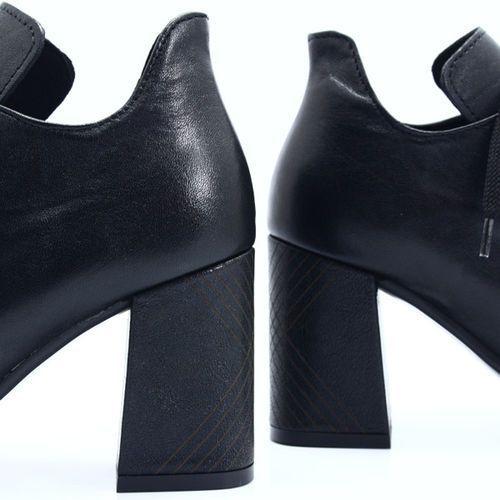3534A CZARNE Wiązane skórzane botki, kolor czarny (TYMOTEO)