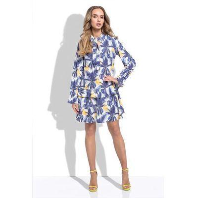 6c3a6ddaa5 Niebieska Zwiewna Sukienka z Kwiatowym Wzorem z Przedłużonym Stanem