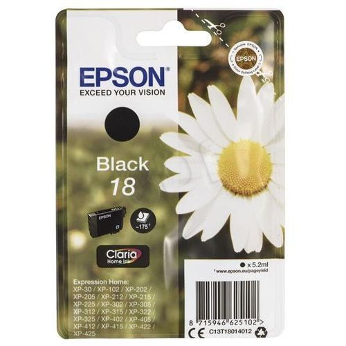 EPSON 18 ink cartridge black standard capacity 5 2ml 175 pages 1 pack blister without alarm