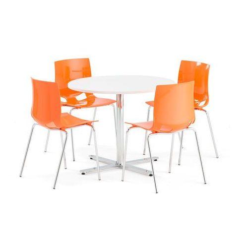 Zestaw do stołówki TILO + JUNO, okrągły stół, 4 krzesła, pomarańczowy