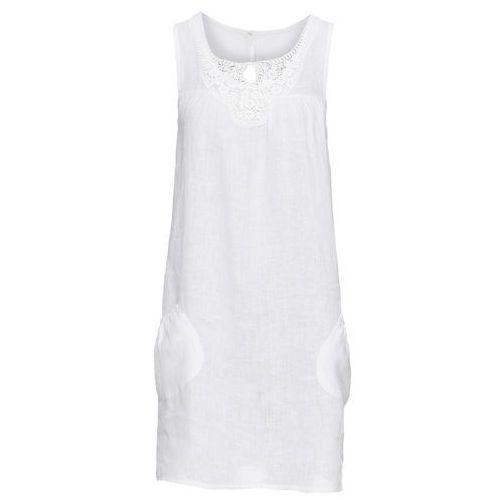 Sukienka lniana z koronką bonprix biały