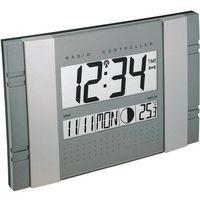 Zegar ścienny cyfrowy Techno Line 02666 WS 8001 Sterowany radiowo, srebrny, (DxSxW) 290 x 25 x 190 mm, kolor szary