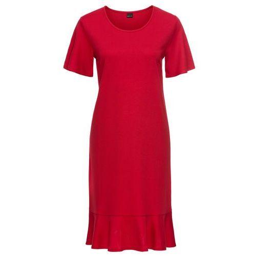 Sukienka z dżerseju z rękawami z falban bonprix czerwony