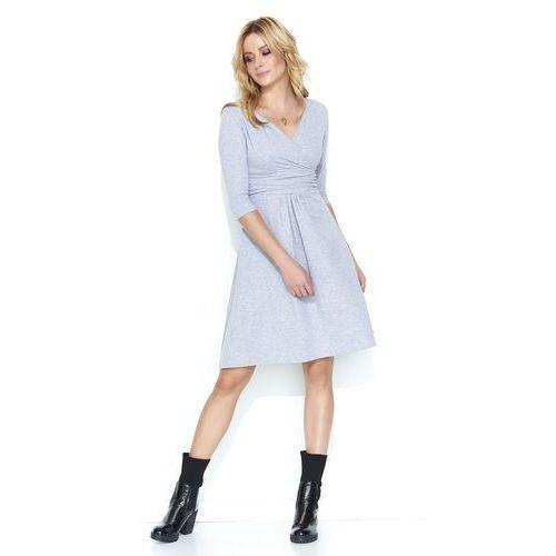 f5371e457a Szara dresowa sukienka z dekoltem v marki Makadamia