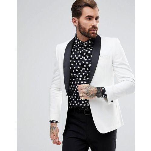 f702e75bd113a ASOS DESIGN Asos design slim tuxedo suit jacket in white with black  contrast lapel - white