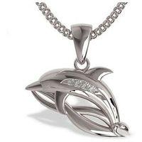 Węc - twój jubiler Wisiorek z białego złota w kształcie delfina lpw-28b