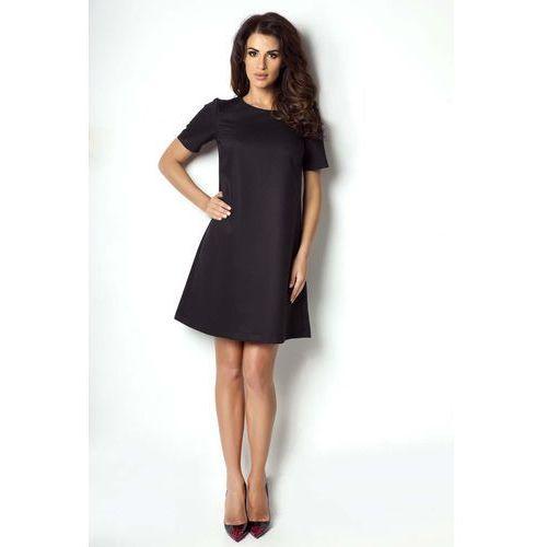 2ac20f24d9 IVON Czarna Sukienka Trapezowa z Krótkim Rękawem