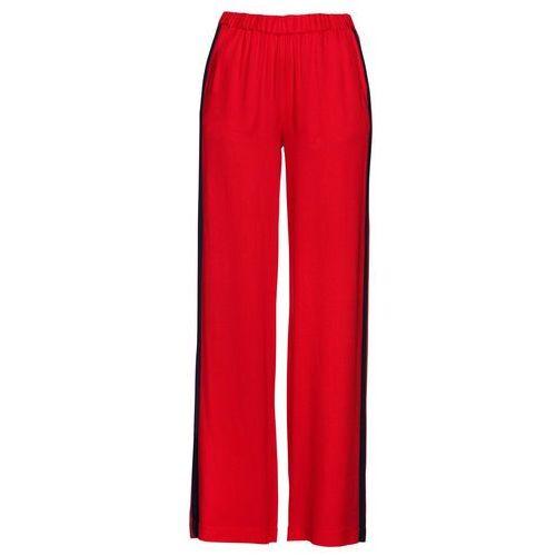 Spodnie ze stretchem, z 5 kieszeniami i połyskującą powłoką bonprix czarny, kolor czerwony