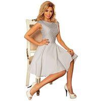 Sukienka elegancka rozkloszowana z koronką - jasnoszara