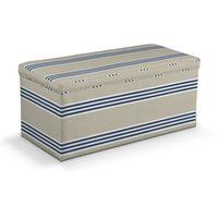 Dekoria  skrzynia tapicerowana, pasy beżowo-granatowo-białe, 120x40x40 cm, marina