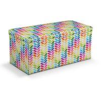 skrzynia tapicerowana, kolorowa jodełka na białym tle, 120x40x40 cm, new art marki Dekoria
